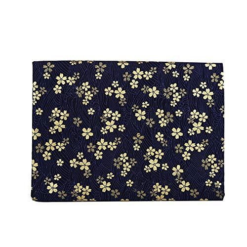 Rancheng 50x150cm Coton Tissu Imprimé Style japonais Tissus au Metres Matériel DIY Couture pour Vêtements Nappe Rideau Patchwork Artisanats tissu a coudre Bricolage #Fleur de cerisier-bleu foncé