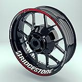 OneWheel Felgenrandaufkleber Motorrad Komplett-Set (17 Zoll) - Felgenaufkleber Bridgestone (Rot -...