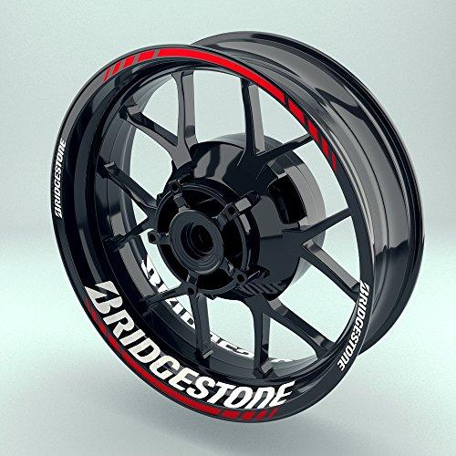 OneWheel Felgenrandaufkleber Motorrad Komplett-Set (17 Zoll) - Felgenaufkleber Bridgestone (Rot - glänzend)