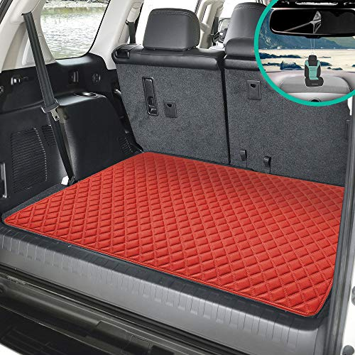 FH Group F16501 Deluxe Heavy-Duty Faux Leather Diamond Pattern Multi-Purpose Cargo Liner (Red) 32 INCHES - Universal Fit for Cars, Trucks & SUVs