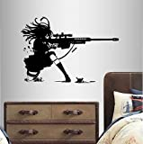 In-Style Decals Wall Vinyl Decal Home Decor Art Sticker Anime Manga Girl Sniper Rifle Shooting Kids Bedroom Room Removable Stylish Mural Unique Design 2359