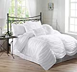 Chezmoi Collection Chic 7-Piece White Ruched Ruffle Pleated Comforter Bedding Set, Queen Size
