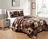 Rustic Western Lodge Quilted Plaid Reversible Bedspread Set with Wildlife Imagery of Grizzly Bear Elk Buck and Pine Trees in Dark Brown - Alpine Trail (King/Cal-King)
