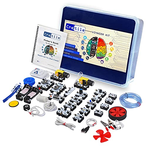 Cretile Voyager Kit - A DIY Kit & Online Course for Robotics, Electronics STEM Projects | 8+ Years Kids | Unlimited Projects Without Coding | Rechargeable Battery Included