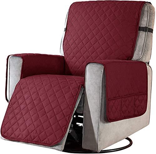Sesselschoner Sesselüberwürfe Relaxsessel Fernsehsessel Sesselauflage Anti-Rutsch Wasserdicht 1 Sitzer Rot Sofa überzug Schutzbezug mit Taschen and Feste Elastische Träger 1 Stück
