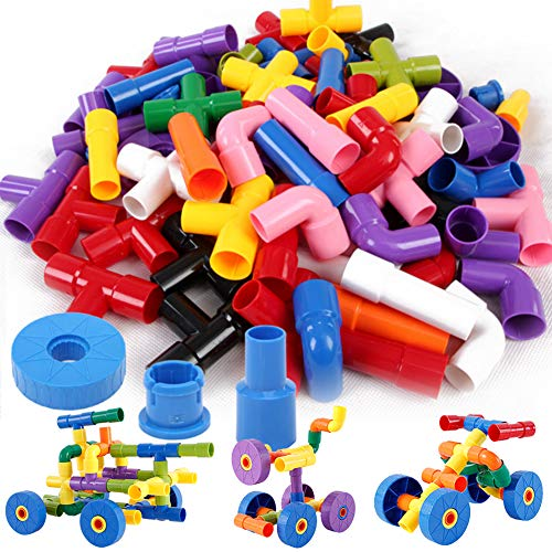 Onshine 72pcs Building Block Pipe Bricks Toy Puzzle Educational Construction Car Assembly Toy for Kids Toddlers