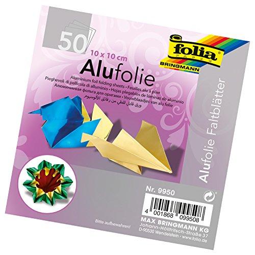 folia 9950 - Faltblätter aus Alufolie, uni, 10 x 10 cm, 100 g/qm, 50 Blatt, farbig sortiert - ideal zum Papierfalten und für andere kreative Bastelarbeiten