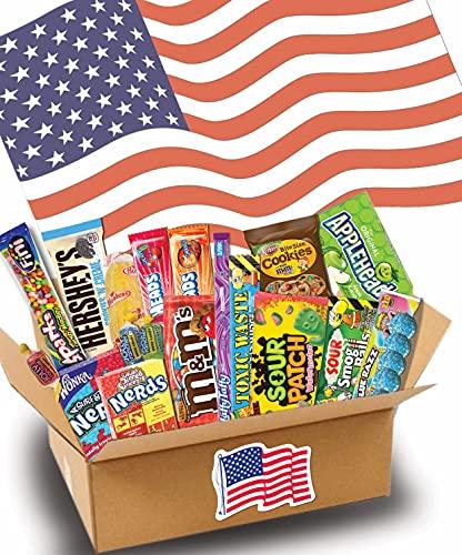 JUMBO USA Süßigkeiten Box - USA Sweets - 19 verschiedene Leckereien - Perfekte Geschenkidee - Box voller TOP Bestseller - 19-teilige Box - USA Import