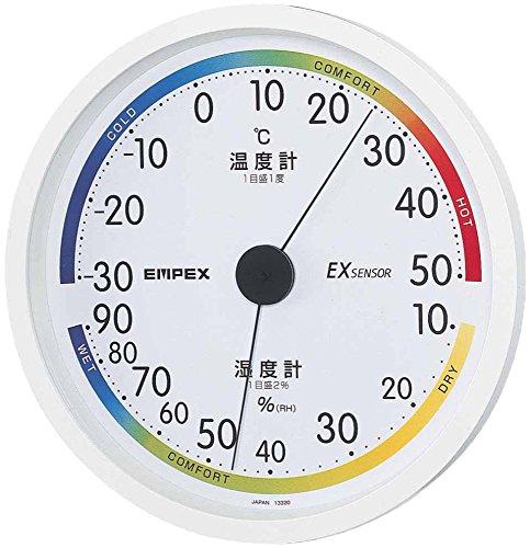 エンペックス気象計 温度湿度計 エスパス温湿度計 壁掛け用 日本製 ホワイト TM-2331
