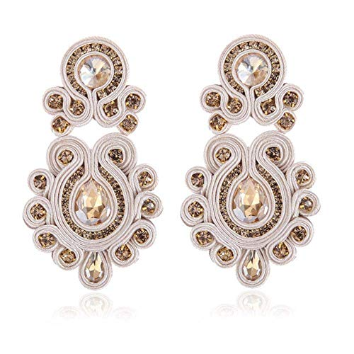 Gymqian Soutache Long Earring Jewelry Women Crystal Handmade Drop Earring Ethnic Style Clothing Red Decorations/Gray