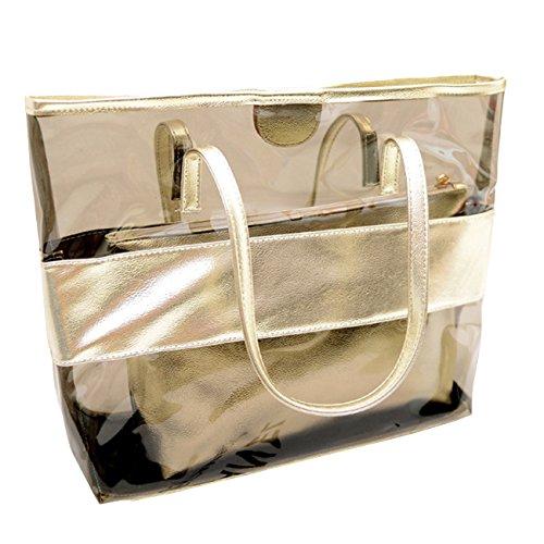 THEE Große Henkeltasche 2 Teilige Handtasche Schultertasche Damen Strandtasche Shopper Handgelenkstaschen,Gold