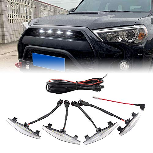 ZGAUTO Grill Light With Fuse Adapter Fit for 4Runner TRD Pro Grille 2014 2015 2016 2017 2018 2019 4 Pcs LED Lights(White)