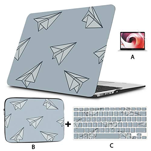 MacBook Pro 15 Case Paper Plane Young Cute Mac Book Cases Hard Shell Mac Air 11'/13' Pro 13'/15'/16' with Notebook Sleeve Bag for MacBook 2008-2020 Version
