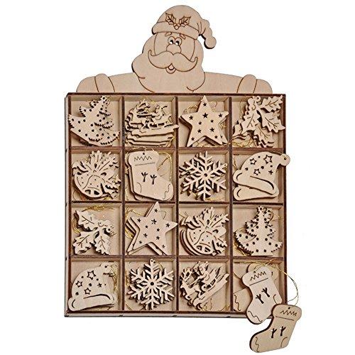 com-four® 48-teiliges Christbaumschmuck Holz-Anhänger Set - Weihnachtsbaumschmuck zum Dekorieren für den Weihnachtsbaum (0048 Stück - Holzbilder)