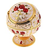 Bonarty Windproof Ashtray with Lid Metal Portable Cigarettes Ashtray Fancy Gift for Men Women, Vintage Style - Golden Rose