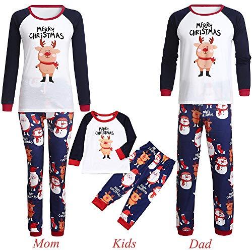 Jaysis Weihnachten Familie Kleidung Pyjamas, Mommy & Me & Daddy Cartoon Cartoon Schwein Brief Print Top + Hosen Kleidung Set Geschenke