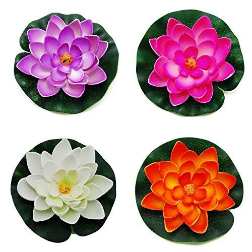 Amison Yigo Schwimmende Teich-Dekoration, Wasserlilie/Lotusblüte, 4 Stück