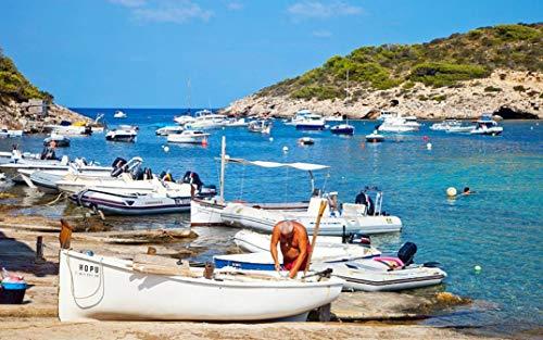 HEE WAG Ibiza Mediterráneo Puerto Barco Pintura por Números DIY Único