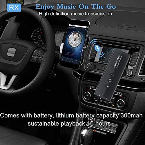 EasyULT Trasmettitore Ricevitore Bluetooth 3 in 1 Ricaricabile, con 300mAh Batteria, Wireless Adattatore Portatile Bluetooth 5.0 con 3.5mm Audio, per TV PC Cuffie Stereo Altoparlanti Auto - Nero