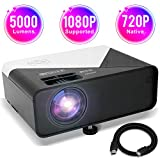 GRC Video Projector, 5000 Lux 1920x1080 Supported Full HD Native 720P Mini Movie Projector, with Built-in HiFi Sound Speaker, Compatible with TV Stick, HDMI, USB , AV, DVD for Multimedia Home Theater
