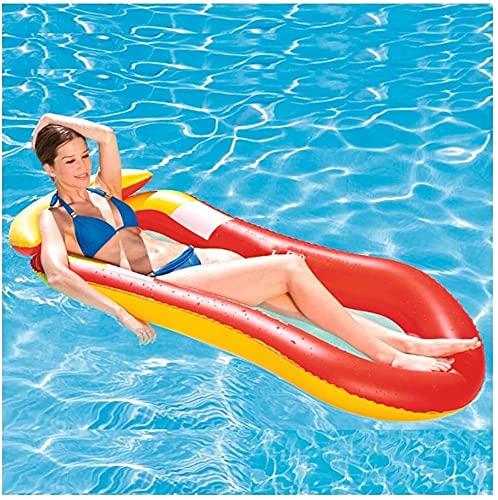 QUQU Agua Tumbona Adulto Piscina Inflable del Flotador Row Bed Juguetes Piscina Anillo adecuados el Agua Summer Beach Party Diversión al Aire Libre, Azul, Color: Rojo (Color : Red)