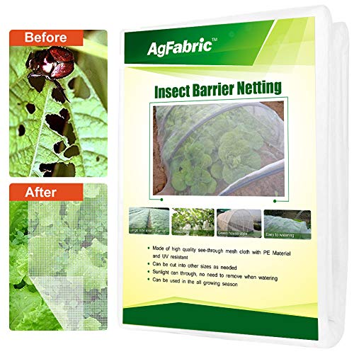 Agfabric 10'x30', 2Pack Bug Net Insect Bird Netting, Garden Netting Protect Plants Fruits Flowers Against Bugs, Birds & Squirrels