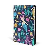 Couverture de livre en cuir avec motif de sirène, ancre, hippocampe, corail, pour l'école, le bureau, carnet de notes, couverture rigide A5 14,7 x 22,1 cm pour filles et garçons