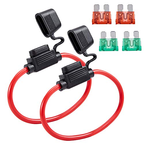 Febrytold 10 Gauge Inline Fuse Holder - 2 Pack Fuse Holder Waterproof Pigtail Fuse Relay with 2 Pack 30AMP Blade Fuse & 2 Pack 40AMP Blade Fuse for Car Truck Boat Motorcycle