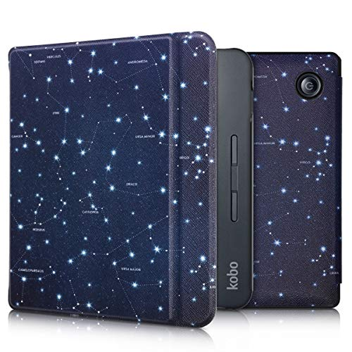 kwmobile Case Compatible with Kobo Libra H2O - PU e-Reader Cover - Star Map White/Dark Blue
