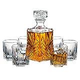 Paksh Novelty 7-Piece Italian Crafted Glass Decanter & Whisky Glasses Set, Elegant Whiskey...