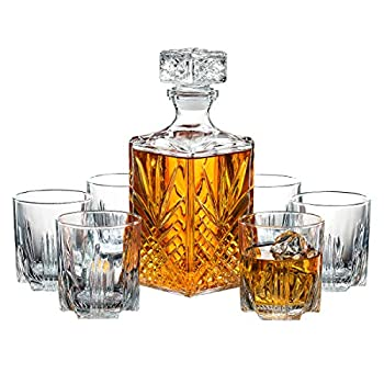 Paksh Novelty 7-Piece Italian Crafted Glass Decanter & Whisky Glasses Set Elegant Whiskey Decanter with Ornate Stopper and 6 Exquisite Cocktail Glasses