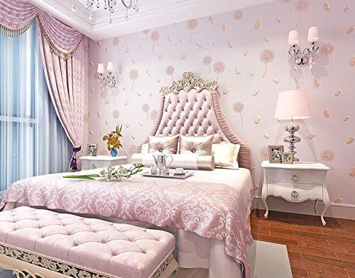Behang kleine slaapkamer stapelbed landhuis frisse woonkamer warm bloemen paars roze paardenbloem 200 x 140 cm