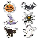 Crethink Juego de 6 cortadores de galletas para Halloween, cortador de galletas de acero inoxidable, para calabaza, murciélago, fantasma, sombrero de bruja, gato, araña