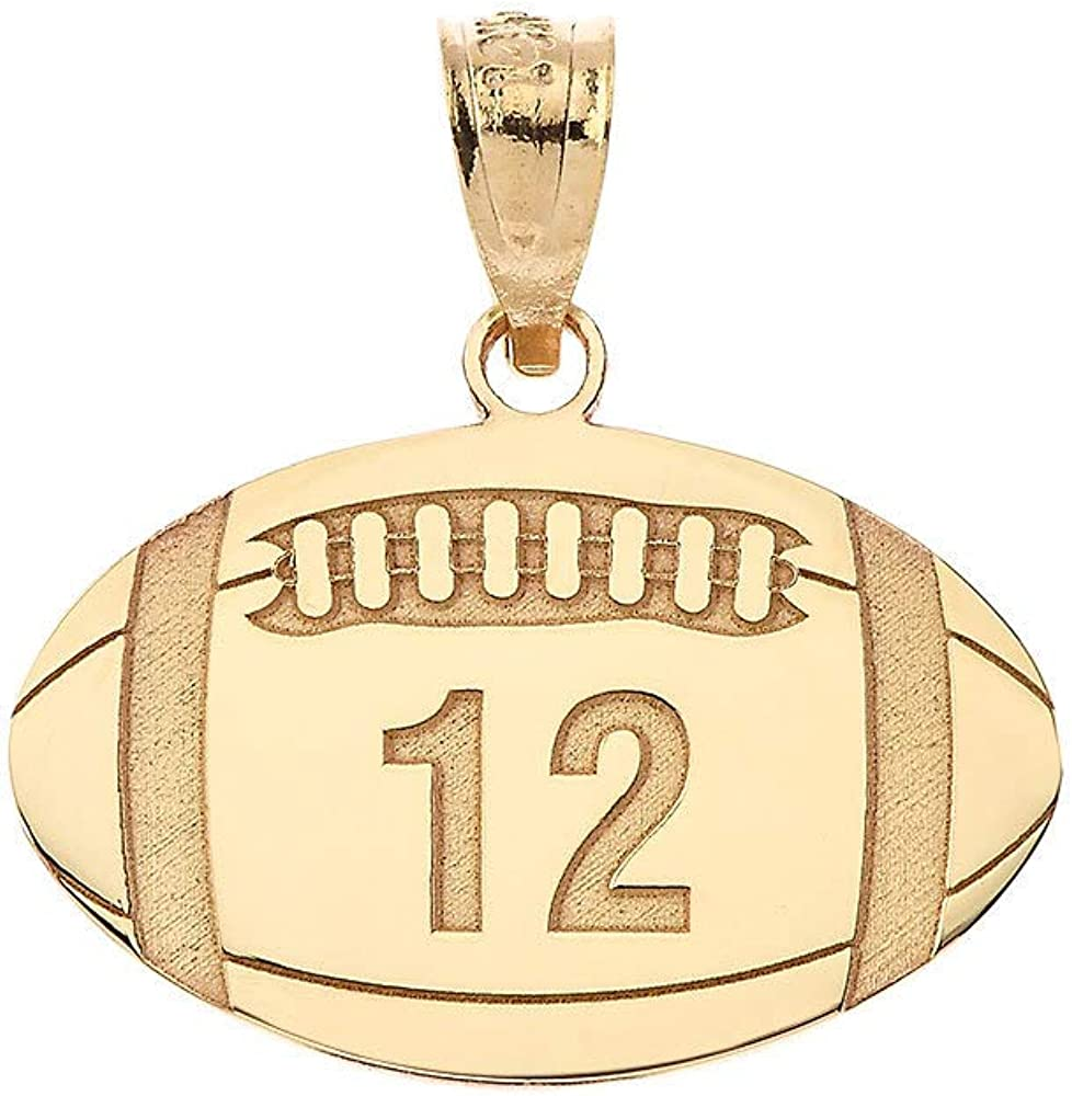 Sports Charm Certified 10k Yellow Gold Customized Football Pendant with Your Name and Number
