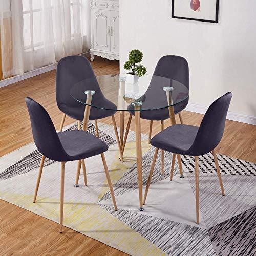 GOLDFAN Esstisch mit 4 Stuhl Glastisch und Grau Samt Stuhl Runder Tisch Glas für Wohnzimmer Küche