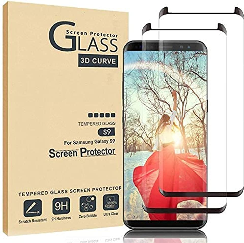 Samsung Galaxy S9 Plus Screen Protector,Full Coverage Tempered Glass[2 Pack][3D Curved] [Anti-Scratch][High Definition] Tempered Glass Screen Protector Suitable for Galaxy S9+