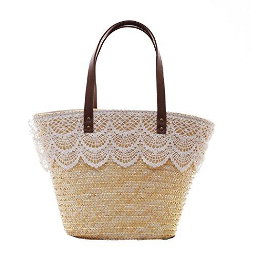 FAIRYSAN Ms. donna donne ragazza semplice pizzo paglia disegno Grande capacità Borsa a tracolla borsetta Color crema naturalmente Protezione ambientale
