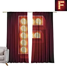berrly Drapes Letter F,Capital F Typescript Nightlife Disco Clubs Casino Movie Theater Font Print, Ruby Yellow Black W96 x L84 Drapes for Living Room