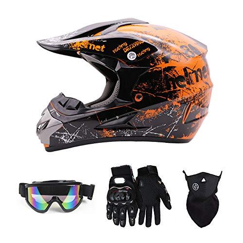 SanQing Motocross Helmet Fashion Youth Dirt Bike Helmet Unisex-Adult Dirt Bike Off-Road Mountain Bike Motorcycle Helmet DOT Approved (Gloves Goggles Face Shield) 4Pcs Set (Orange, Medium)