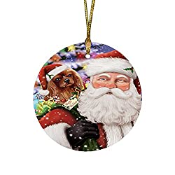 Jolly Old Saint Nick Santa Holding Cavalier King Charles Spaniel Dog and Happy Holiday Giftsラウンドクリスマスオーナメント[Amazon/Doggie of the Day]