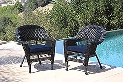 cheap Dzeko Wicker Chair Blue Cushion Set of 2 Black / W00207-
