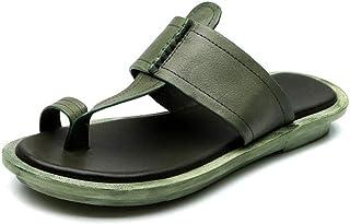 ZUOX Tongs Mixte Adulte Multicolore,Portez des Sandales et des Pantoufles en Cuir à l'extérieur en été-Vert_37,Été Anti-Dé...