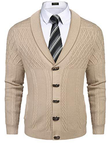 COOFANDY Cardigan Herren Jacke aus Strick Langarm Regular Fit Rippstruktur Zwei Taschen V-Neck Khaki Winter XL