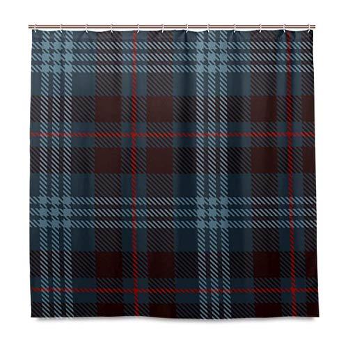 72x72 inch zwart polyester Tartan patroon douchegordijn met haken stof voor dagelijks gebruik badkamer set waterdicht