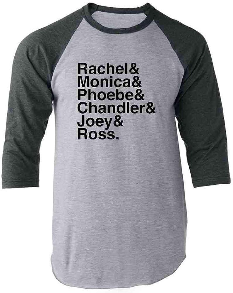 Pop Threads Rachel & Monica & Phoebe & Chandler & Joey & Ross Gray 2XL Raglan Baseball Tee Shirt