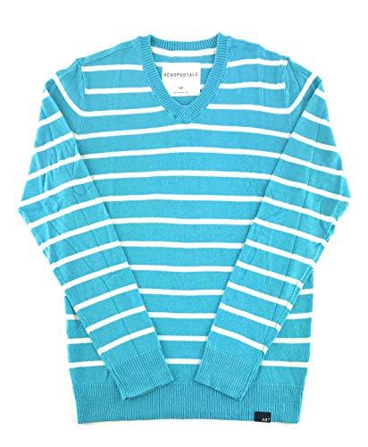 Aeropostale Mens Sweater Medium Aqua White 8527