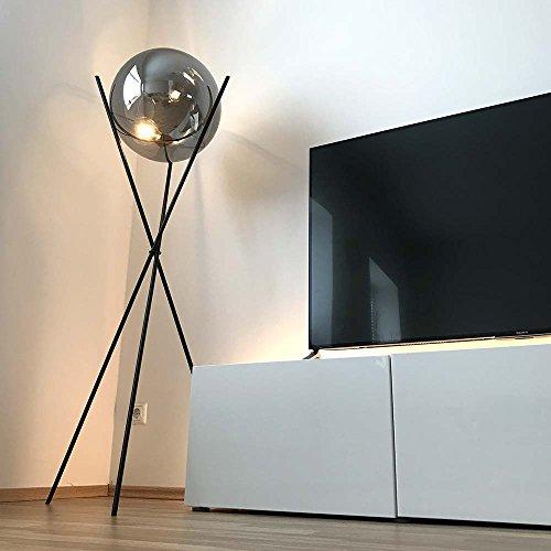 s.LUCE Stehleuchte Sphere 40 schwarz mit rauchiger Glaskugel dimmbar Stehlampe Dreibein Glaslampe Designleuchte Wohnzimmerlampe Bodenlampe warmes Licht