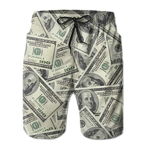 Hombres $ 100 Dólares Dinero Divertido Verano Secado rápido Troncos de baño Pantalones Cortos de Playa Pantalones Cortos de Carga