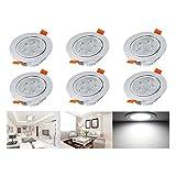 Hengda® 6er 5W LED Einbauleuchten, ersetzt 40W Incandescent Kaltweiß 6500K 120° Abstrahwinkel LED Einbauspots Strahler Lampen 430lm
