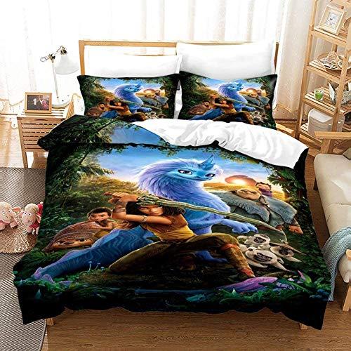 QWAS Juego de ropa de cama de Raya y el último dragón, 3 piezas, funda nórdica + funda de almohada, microfibra, impresión digital 3D (A2, 135 x 200 cm + 50 x 75 cm x 2)